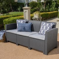 St. Paul Outdoor 3-seater Wicker-style Sofa with Cushion by Christopher Knight Home