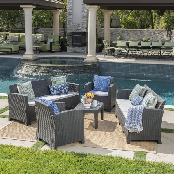 Jacksonville Outdoor 5-piece Wicker-style Chat Set with Sofa and Cushion by Christopher Knight Home