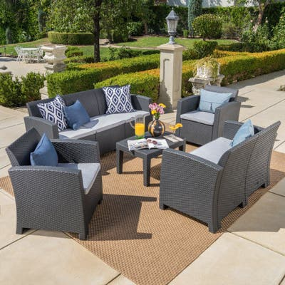 Daytona Outdoor 5-piece Chat Set with Sofa and Cushions by Christopher Knight Home
