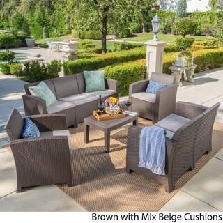 Daytona Outdoor 5-piece Wicker Patio Sofa Set with Cushion