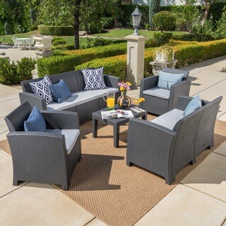 Daytona Outdoor 5-piece Wicker-style Chat Set with Sofa and Cushion by Christopher Knight Home
