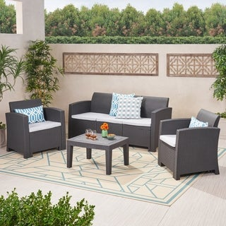 Jacksonville Outdoor 4-piece Wicker-style Chat Set with Cushion by Christopher Knight Home