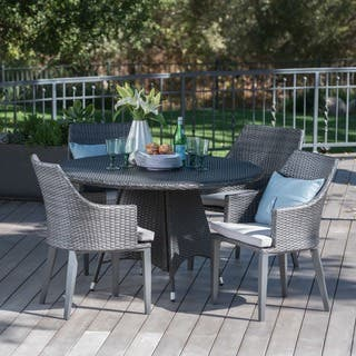 Hillhurst Outdoor 5-piece Round Wicker Dining Set with Cushions & Umbrella Hole by Christopher Knight Home