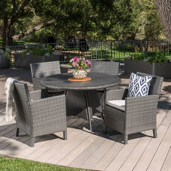 Cypress Outdoor 5-piece Round Wicker Dining Set with Cushions & Umbrella Hole by Christopher Knight Home