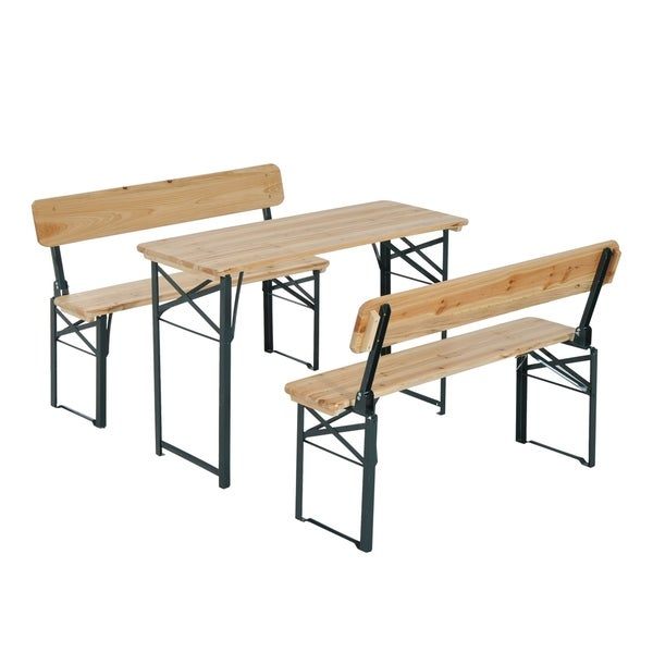 Outsunny 4 X27 Wooden Folding Picnic Table Set With Benches