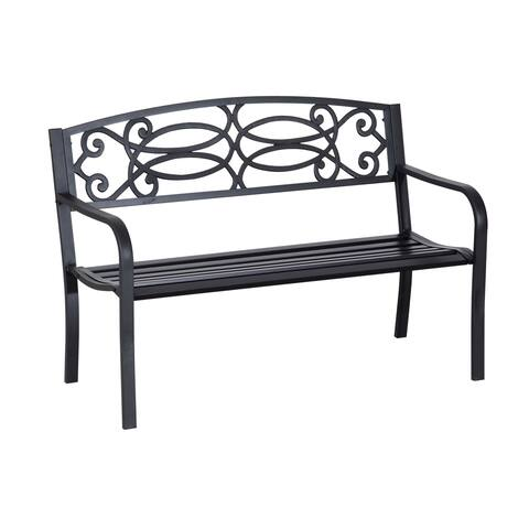 "Outsunny 50"" Flowering Pattern Decorative Patio Garden Bench"