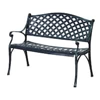 """Outsunny 40"""" Grid Pattern Decorative Outdoor Garden Bench - Antique Green"""