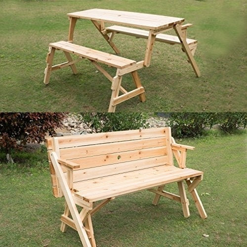 Outsunny 2 in 1 Convertible Picnic Table & Garden Bench, ...