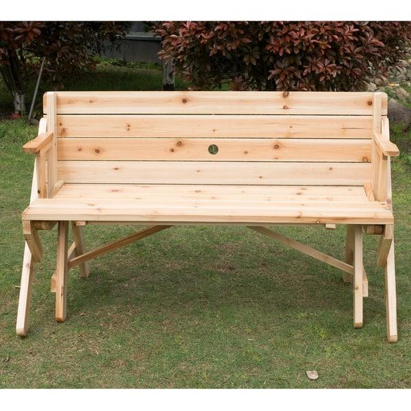Incredible Shop Outsunny 2 In 1 Convertible Picnic Table Garden Bench Ncnpc Chair Design For Home Ncnpcorg