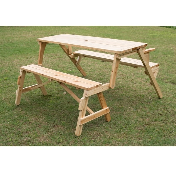 Fantastic Shop Outsunny 2 In 1 Convertible Picnic Table Garden Bench Ncnpc Chair Design For Home Ncnpcorg