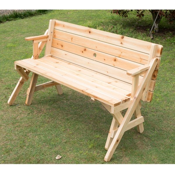 Astonishing Shop Outsunny 2 In 1 Convertible Picnic Table Garden Bench Ncnpc Chair Design For Home Ncnpcorg