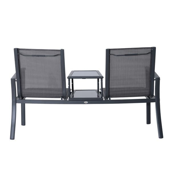 Superb Shop Outsunny 2 Person Outdoor Patio Bench W Center Table Short Links Chair Design For Home Short Linksinfo
