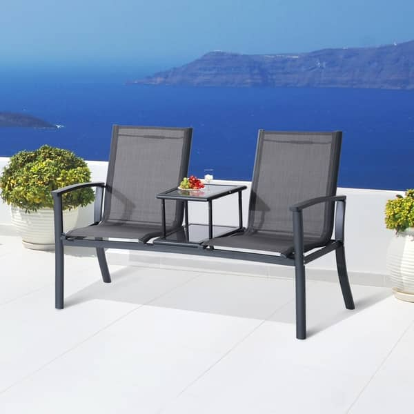 Awesome Shop Outsunny 2 Person Outdoor Patio Bench W Center Table Short Links Chair Design For Home Short Linksinfo
