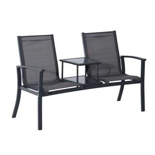 Outsunny 2 Person Outdoor Patio Bench w/ Center Table - Grey