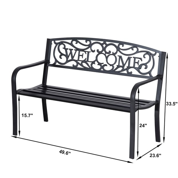 """Four Seasons Courtyard /""""Welcome/"""" Steel Park Bench"""