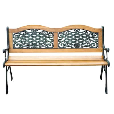 """Outsunny 50"""" Outdoor Antique Style Wooden Patio Garden Bench Love Seat with Strong Hardwood Slats & Antique Style"""