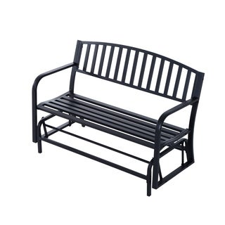 Outsunny 50 inch Outdoor Steel Patio Swing Glider Bench - Black