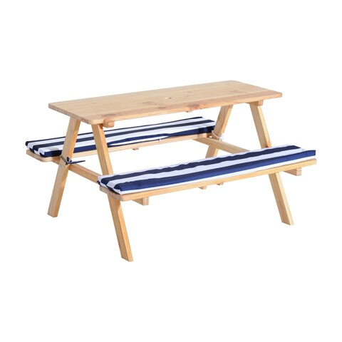 Qaba Wooden Outdoor Kids Picnic Table with Padded Benches