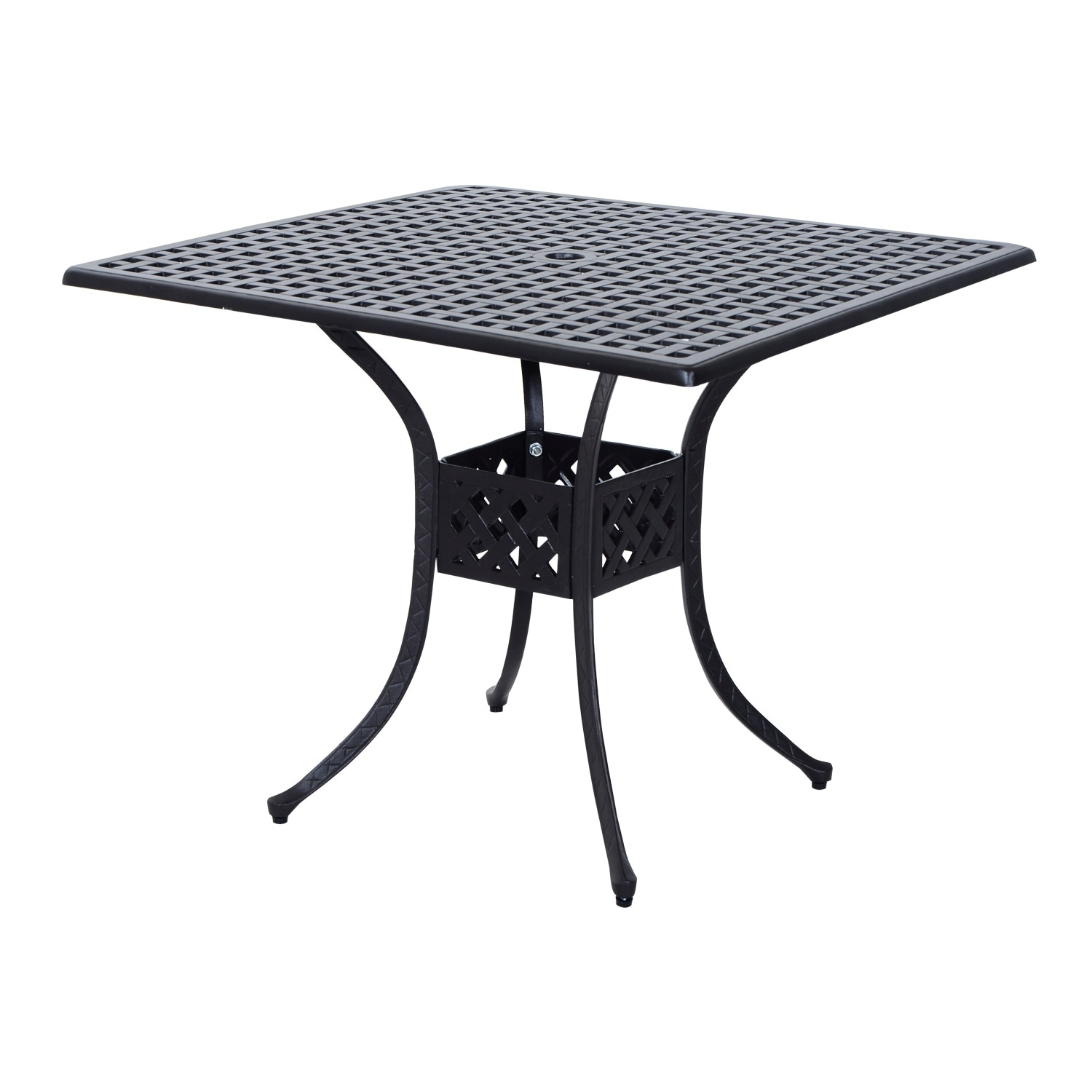 Outsunny Square Cast Aluminum Outdoor Dining Table - Blac...
