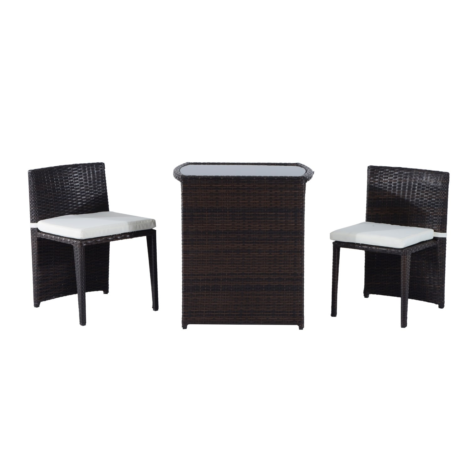 Outsunny 3 Piece Chair and Table Rattan Wicker Patio Nesting Furniture Set  sc 1 st  Overstock.com & Shop Outsunny 3 Piece Chair and Table Rattan Wicker Patio Nesting ...