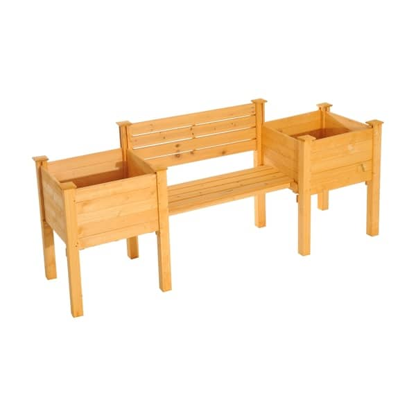 Outsunny 82 Wooden Garden Bench W Flower Bed Planters