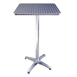 Clay Alder Home Amelia 24 Inch Stainless Steel Top Adjustable Height Bistro Bar  Table