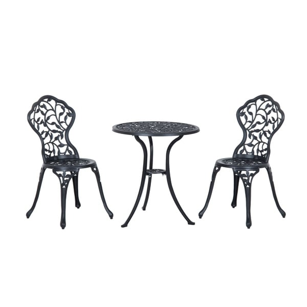 shop outsunny 3 piece antique style outdoor patio bistro dining set