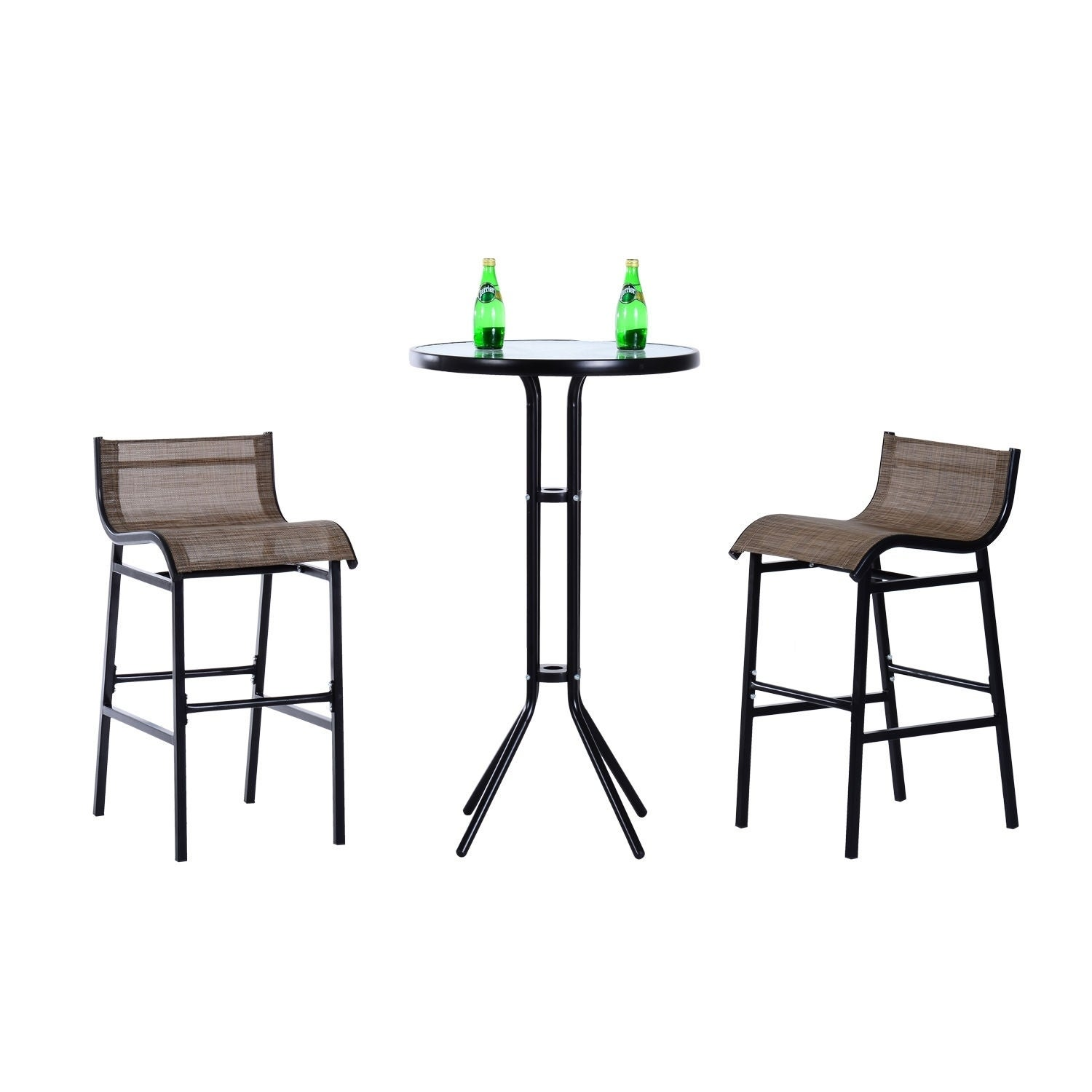 Outsunny 3 Pc Outdoor Patio Pub Bistro Table U0026amp; Chairs Set