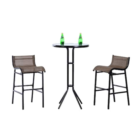 Havenside Home Santa Barbra 3-piece Outdoor Patio Pub Bistro Table and Chairs Set