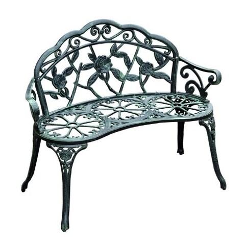 """Outsunny 40"""" Cast Iron Antique Rose Style Outdoor Patio Garden Bench"""
