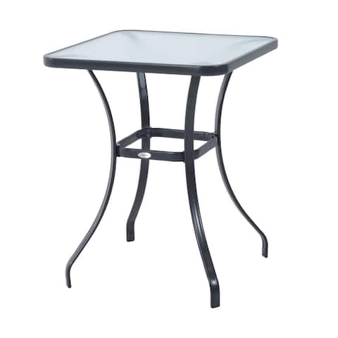 """Outsunny 34"""" Outdoor Glass Top Bistro Table - Black"""