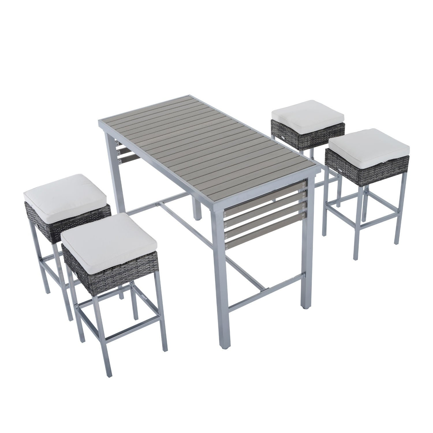 Outsunny 5pc Steel Rattan Wicker Bar Stool Dining Table S...