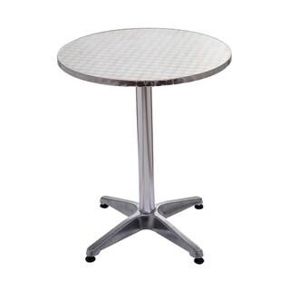"""HomCom 24"""" Round Top Adjustable Indoor Outdoor Bistro Bar Table - Silver"""