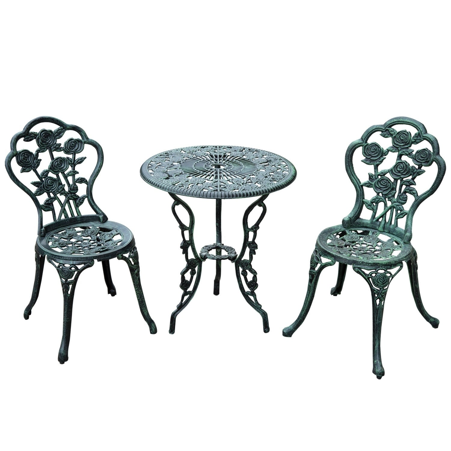 Aosom Outsunny 3 Piece Outdoor Cast Iron Patio Furniture ...