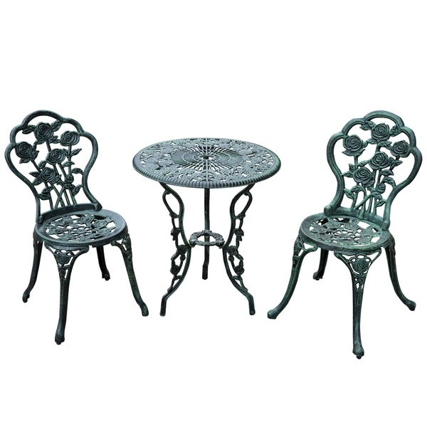 Outsunny 3 Piece Outdoor Cast Iron Patio Furniture Antique Style Dining  Chair U0026amp; Table Bistro