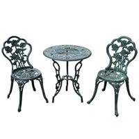 Outsunny 3 Piece Outdoor Cast Iron Patio Furniture Antique Style Dining Chair & Table Bistro Set