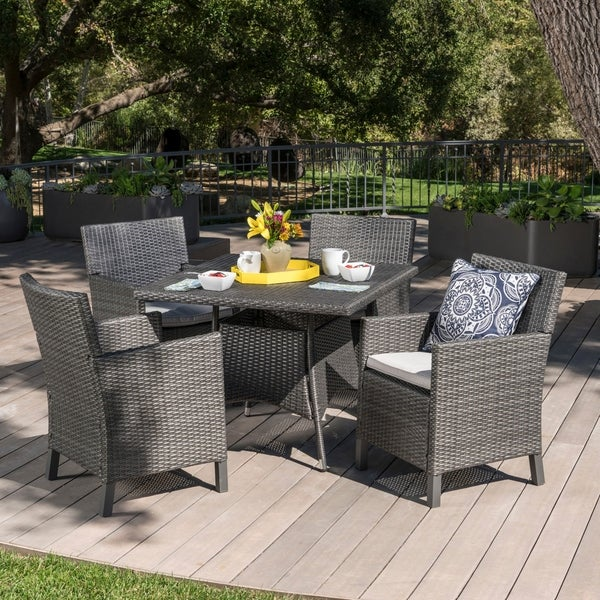 Cypress Outdoor 5-piece Square Wicker Dining Set with Cushions by Christopher Knight Home