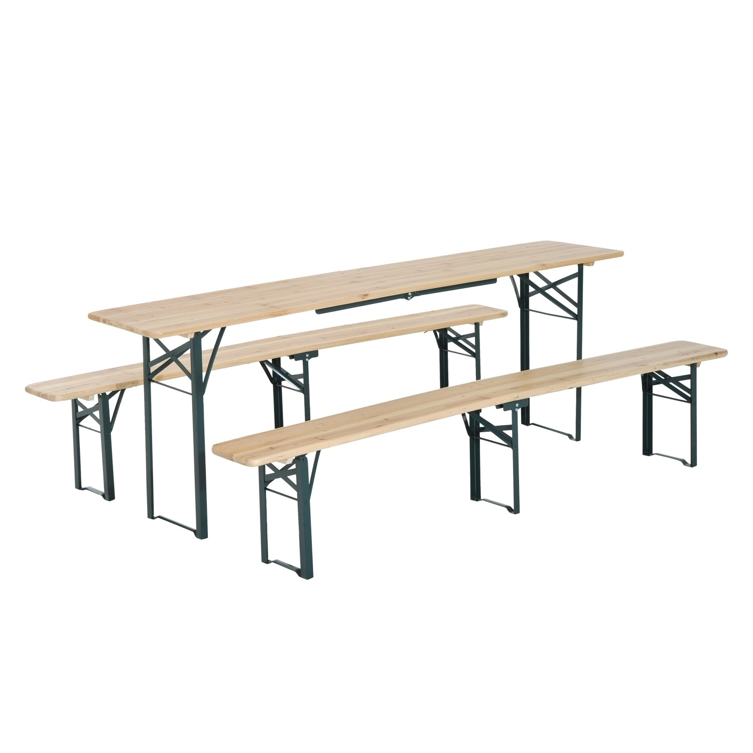Outsunny 7ft Wooden Folding Picnic Table Set with Benches...