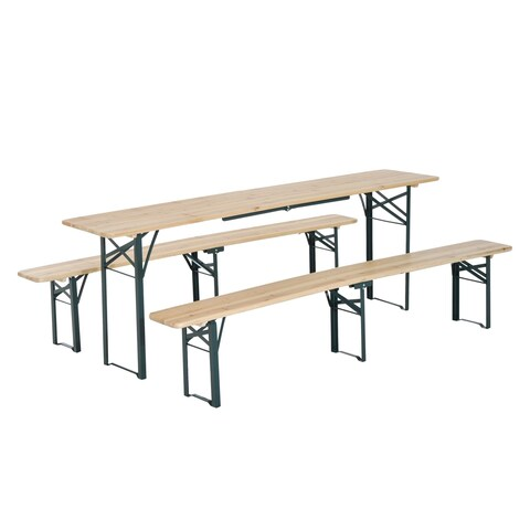 Outsunny 7ft Wooden Folding Picnic Table Set with Benches