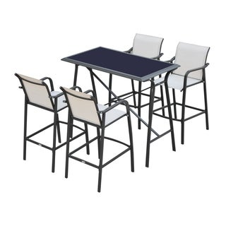 Outsunny 5-Piece Outdoor Patio Sling Bar Dining Set