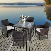 Outsunny 5 Piece Outdoor Patio Rattan Wicker Table and Chair