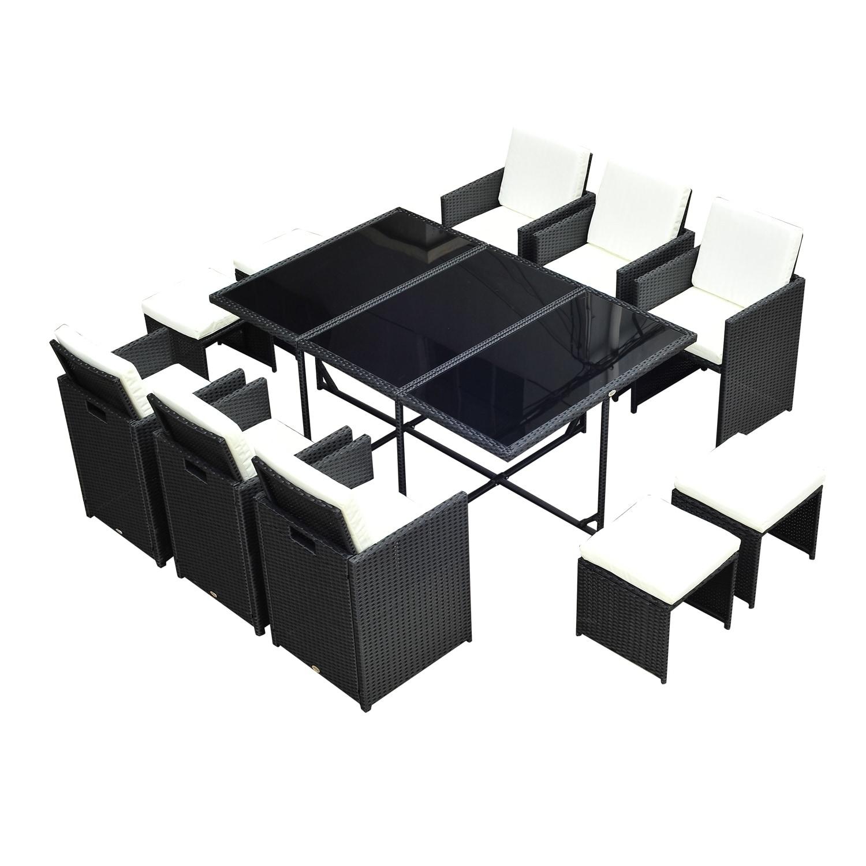 Aosom Outsunny Outdoor 11 Piece PE Rattan Wicker Table an...