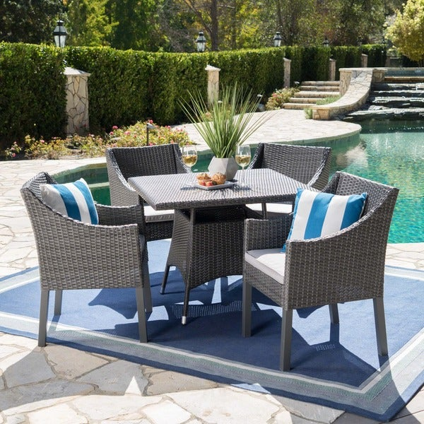 Franco Outdoor 5 Piece Square Wicker Dining Set With Cushions By  Christopher Knight Home