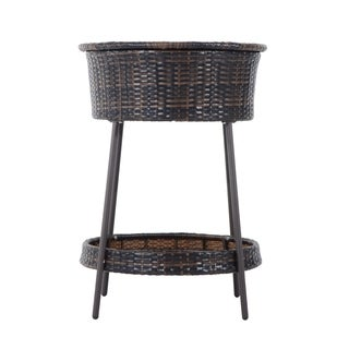 Outsunny Outdoor Rattan Ice Bucket with Matching Lid and Tray