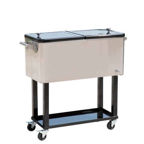 Outsunny 80 QT Rolling Ice Chest Portable Patio Party Drink Cooler Cart - Stainless Steel