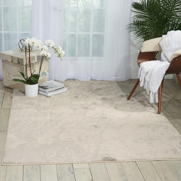 Nourison Maxell Ivory/ Grey Shag Area Rug - 7'10 x 10'6