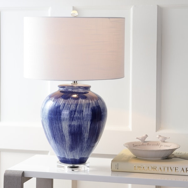 "Wayland 26"" Ceramic LED Table Lamp, Seaside Blue"