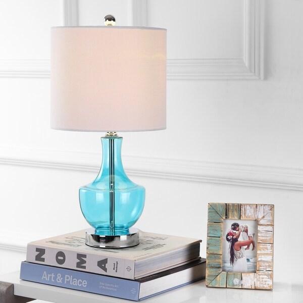 """Colette 20"""" Mini Glass LED Table Lamp, Amalfi Blue"""