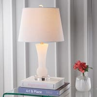 "Eliza 23"" Alabaster LED Table Lamp, Crystal Base"