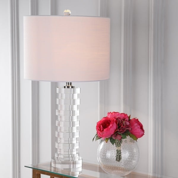"Sasha 25"" Crystal LED Table Lamp, Clear"